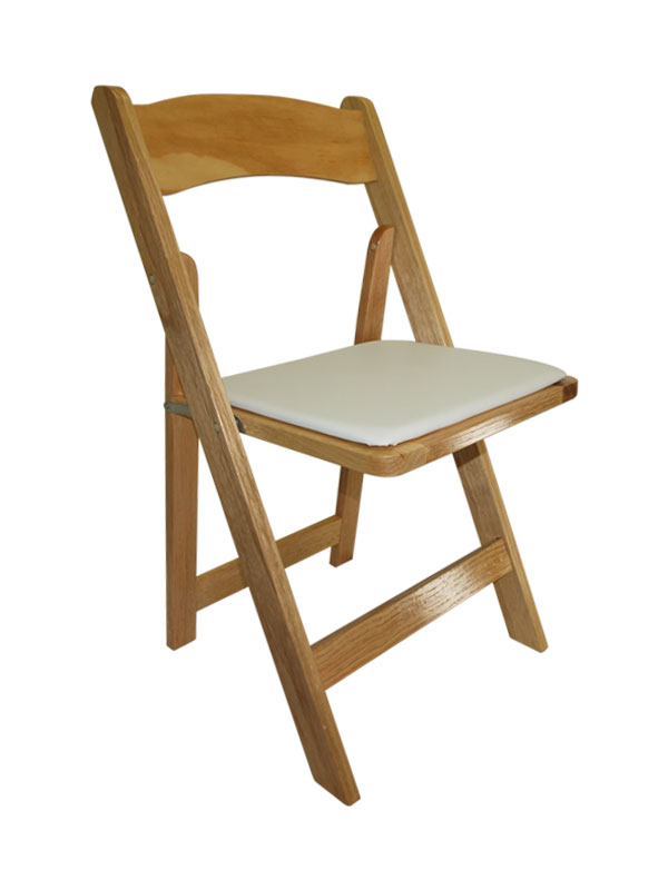 Natural Wood Folding Chair w Padded Seat