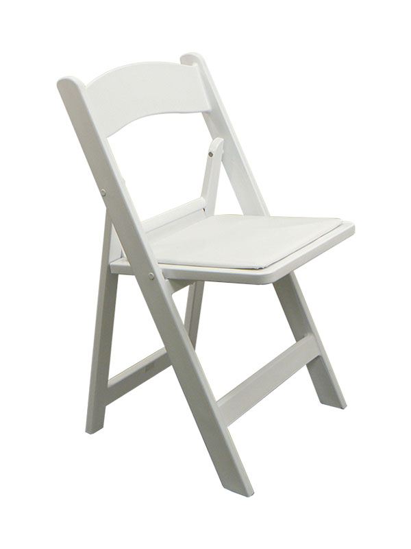 white resin chair w/ padded seat   chairs